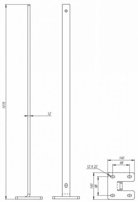 Galvanisert rekkverksstolpe - toppmontert - Bolig Engros AS