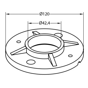 Sveiseflens for rekkverksstolpe - Bolig Engros AS