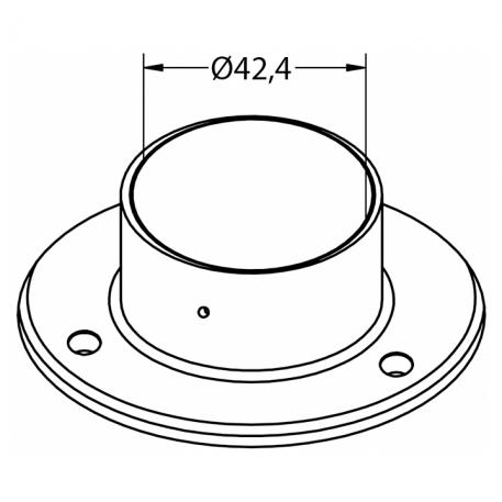 Skisse veggflens fro Ø42,4mm rør - Bolig Engros AS