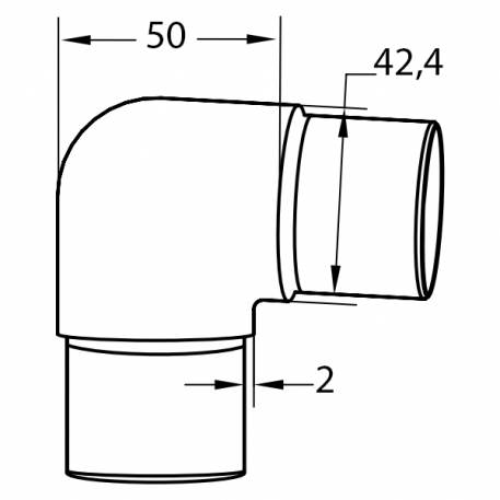 Bend 90 grader for rekkverk-EB.202.01.16.S - Bolig Engros