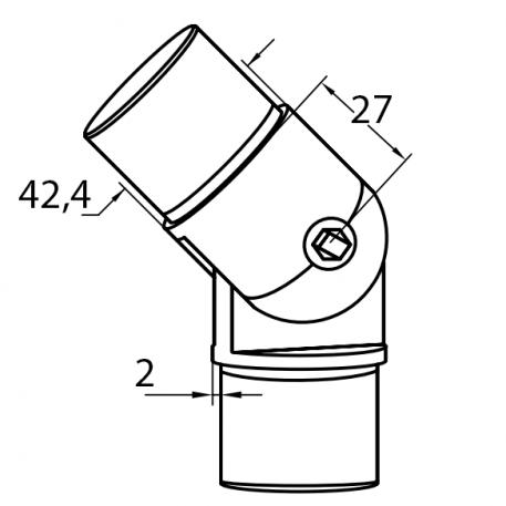 Skisse justerbart bend i syrefast stål - Bolig Engros
