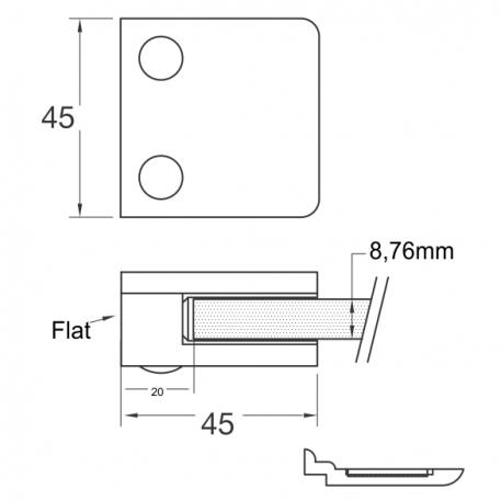 Skisse flat glassklemme-45x45mm - Bolig Engros AS