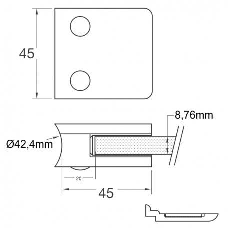 Skisse Ø42,4 glassklemme-45x45mm - Bolig Engros AS
